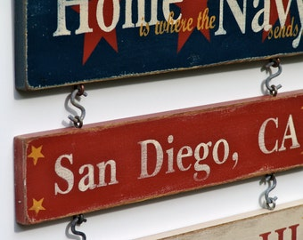 2 Duty Stations - Home is Where the Military Sends Us - Custom Hand Painted Sign