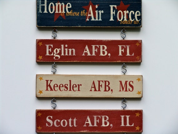 3 Duty Stations - Home is Where the Military Sends Us  - Custom Hand Painted Sign