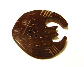Vintage Coconut Shell Button - Fish