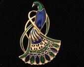 Vintage Blue & Green Enamel Large Peacock Bird Pin
