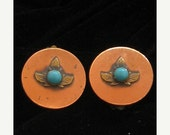 50% Sale Vintage Native American Copper & Turquoise Earrings 1960s