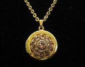 Vintage NR Amethyst Rhinestone Pendant Locket Necklace