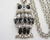 Reserved for Sue do not buy Black & Clear Crystal Rhinestone Owl Pendant Necklace