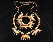 Vintage Safari African Jungle Animals Necklace Bracelet Demi Parure
