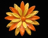 Vintage Orange & Yellow Spring Dimensional Flower Pin