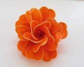 Reserved for V do not buy Vintage Orange Flower Pin Dimensional Large Summer 1960s