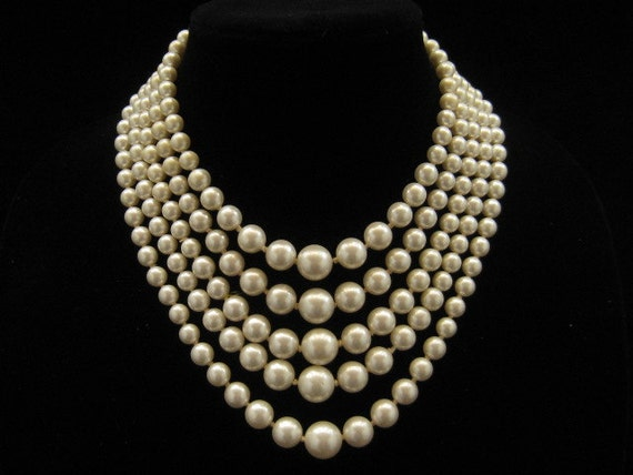Vintage 5 Strand Glass Pearl Bead Wedding Necklace Japan 1950s
