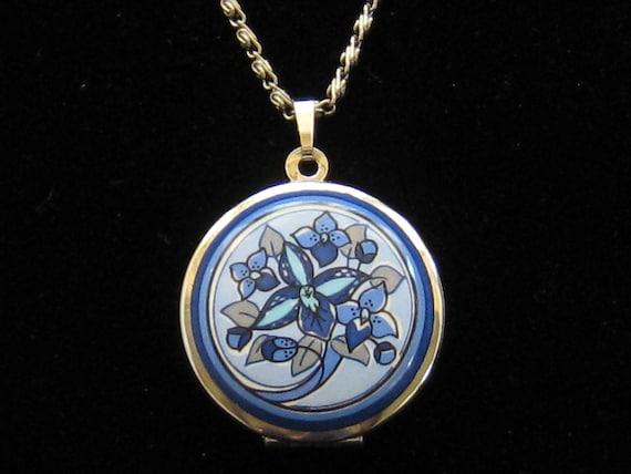 Austrian Michaela Frey Vintage Blue Enamel Floral Locket Necklace