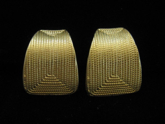 Vintage Norma Jean Large Gold Tone Earrings 1980s