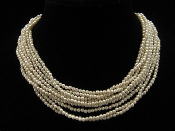 Vintage Japanese 9 Strand Plastic Pearl Torsade Necklace 1960s