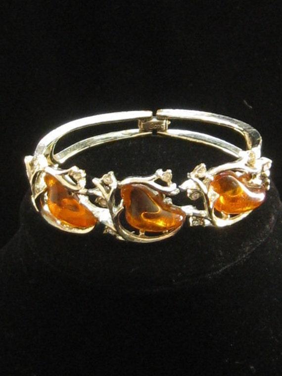 Vintage Amber Molded Plastic & Rhinestone Bracelet 1950s