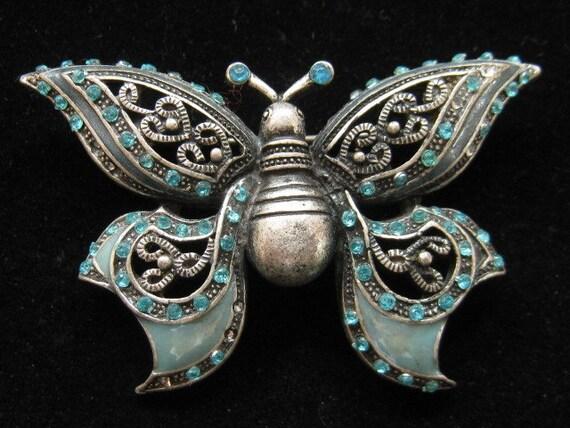 Vintage Enamel Butterfly Blue Rhinestones 1960s