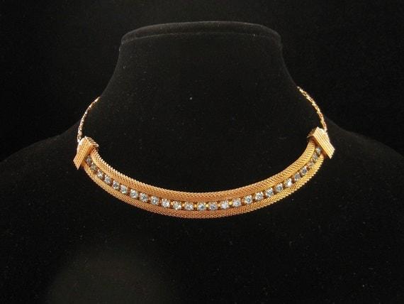 Vintage Sarah Coventry Mesh Blue Rhinestone  Necklace