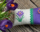 linen pincushion with hand  embroidered crocus