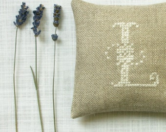 lavender sachet  - letter L embroidered on natural linen