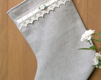 romantic linen chrismas stocking  with lace and rose