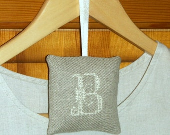 embroidered personalized  gift -  lavender sachet - letter B