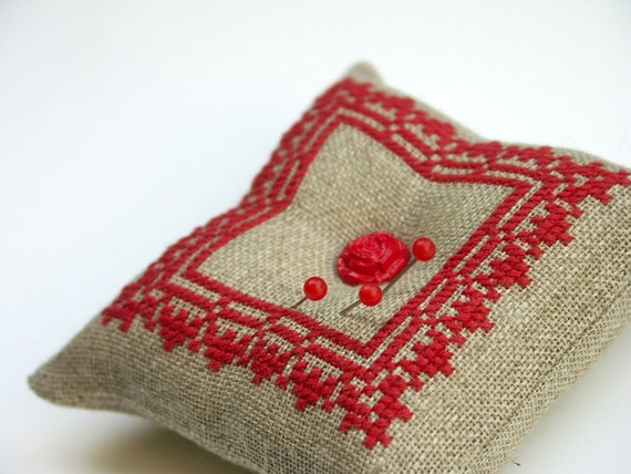 embroidered pincushion - red cross stitch lace on natural linen