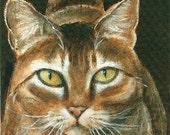 Miss Kitty - Tabby Cat ACEO Art Trading Card Original Acrylic Painting Art by Vylestrya Zayn