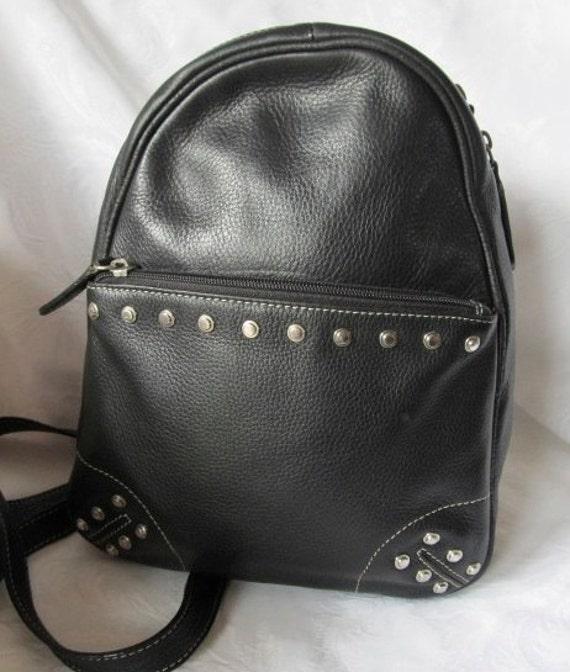 Vintage Studded Black Leather Backpack Handbag by Tignanello