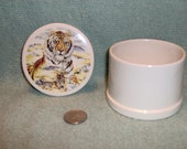 Pretty Round Ceramic Trinket Box with Tigers  Tiger Big Cat Cats