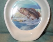 Largemouth Bass Fish Spoonrest - Spoonrest with A Largemouth Bass Jumping  Made of Ceramic