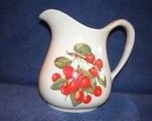 Pretty Ceramic Pitcher With Cherries / Cherry