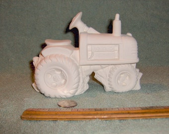 Very Cute Farm Tractor In Ceramic Bisque Ready For You To Paint