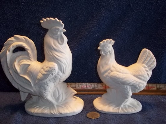 Rooster and Hen Chicken in Ceramic Bisque ready to be Painted Chickens