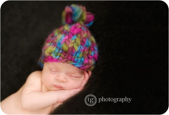 Very Berry Colorway READY to Ship Photo Prop Newborn Baby Hat with Pompom TEXTURE and COLOR in 6 Color Versions