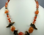 Old World Bronze and Carnelian Necklace