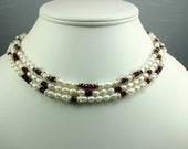 Multistrand Pearl and Garnet Necklace - Free Shipping