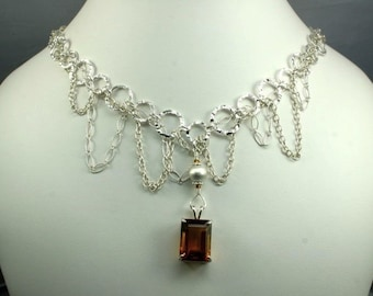 Dark Citrine and Pearl Necklace - Free Shipping