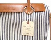 RESERVED FOR LENACORINNA - The Weekender Tote and Handlebar Bag in Blue and White Striped Ticking