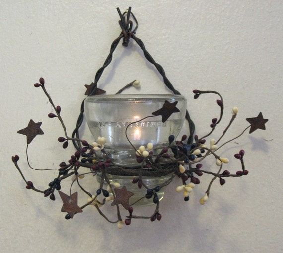 Recycled antique glass insulator candle holder for Vintage glass telephone pole insulators