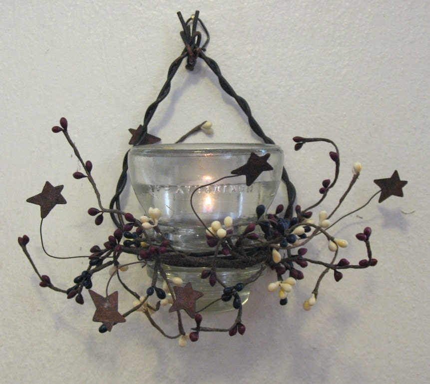 Recycled antique glass insulator candle holder for Glass electric insulator crafts