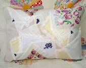 Up-cycled Vintage Linen Pillowcase Pillow - purple/yellow - Kate Corbett