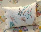 Up-cycled Vintage Linen Pillowcase Pillow - teal/pink/green/bird - Kate Corbett