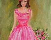 Original Art Print of oil painting Pretty in Pink