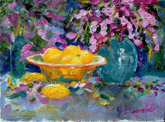 Art Print  of Oil Painting Impressionist Lemons and Lilacs 8x10 print  by J Beaudet
