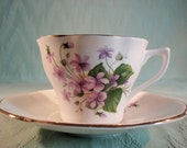 Vintage Cup and Saucer, White with Violets Bone China made in England