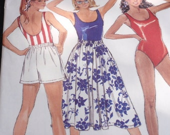 Swimsuit, Shorts, Skirt Pattern, Uncut 1980s Swimsuit, Shorts, Visor and Skirt in a Very  Easy Misses Butterick 6458 in sizes 14, 16 and 18