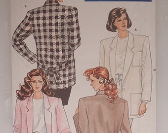 Jacket Pattern, Uncut 1980s Butterick 5783 Misses and Misses Petite Jacket in sizes 14, 16 and 18