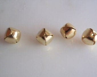Jiggle Bell  Buttons, 4 antique Vintage Goldtone Metal Round Bell Buttons