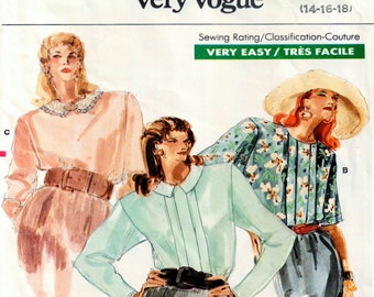 1980s Blouse Pattern, Uncut 1980s Vogue 7015 Misses Blouse in sizes 14, 16, 18,  in 3 variations, one with contrast collar