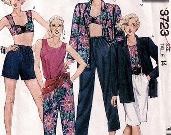 2 tops, skirt, shorts and pants pattern, Vintage Uncut 1980s wardrobe pattern with in 2 lengths McCalls 3723 in size 14