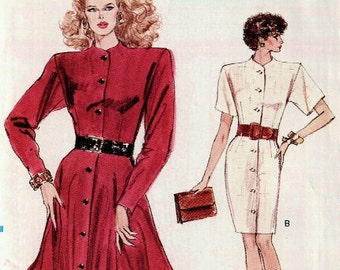 1980s Vogue Dress Pattern, Uncut Dress, Vogue Misses/Misses Petite pattern, Uncut Vogue 7323 in size 14 and size 16 and size 18, very easy