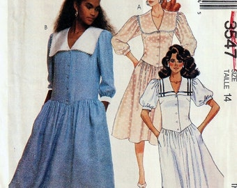 Black Friday and Cyber Monday, Dress Pattern, Misses / Petite Adjustable, Uncut 1980s McCalls 3547, 4 variations in size 14