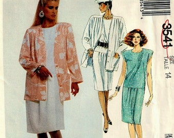 Uncut 1980s McCalls 3541 dress and jacket with front pleats in size 14 can adjust to petite