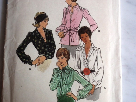 Blouse Pattern, Uncut Butterick 3220 Misses Blouse in size 14 in 4 variations